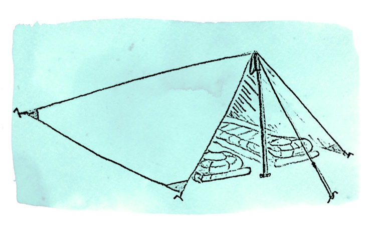 Modified pyramid tarp setup sketch