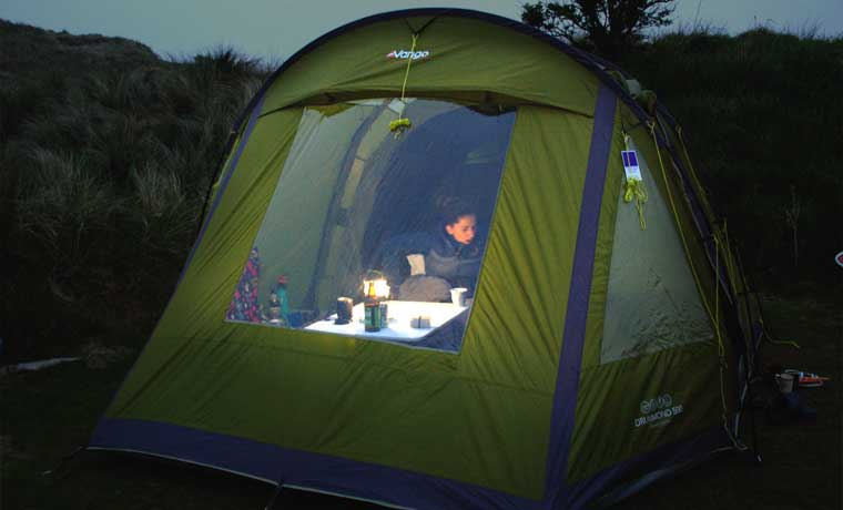 Camping lantern in tent