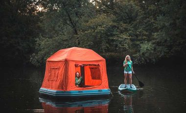 Floating tent on lake