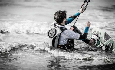 Kitesurfing with backpack
