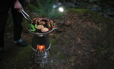 BBQ on camping grill