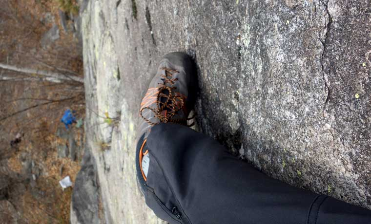 Climbing in Crux shoes