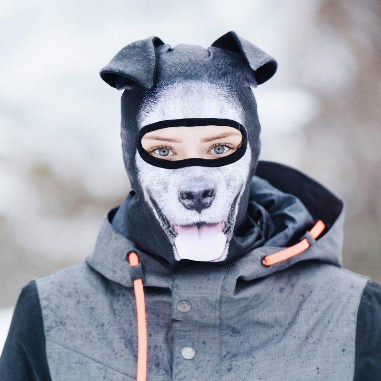 Dog ski mask on person