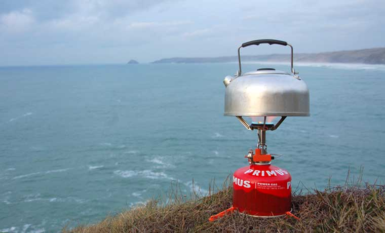 Kettle on camping stove