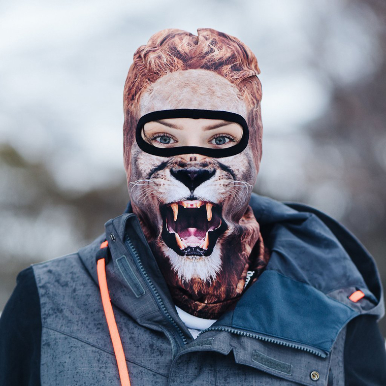 Lion ski mask on woman