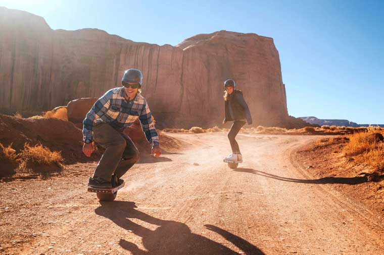 Skating off road in desert