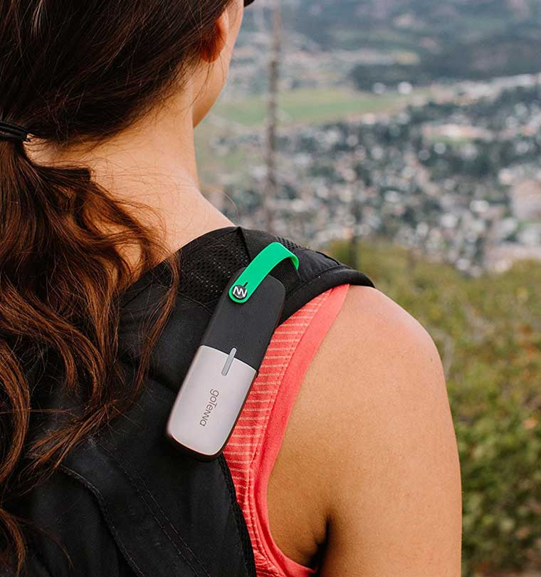 goTenna on backpack of woman
