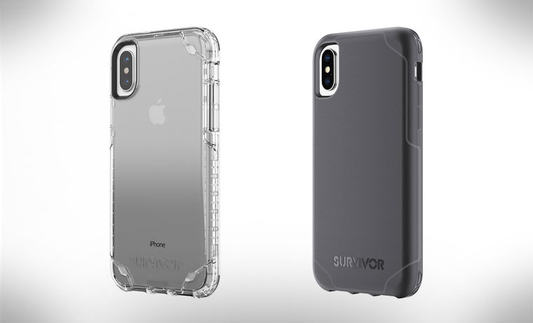 Grey and clear phone cases