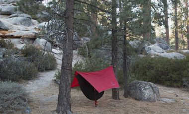Tarp hanging over a hammock