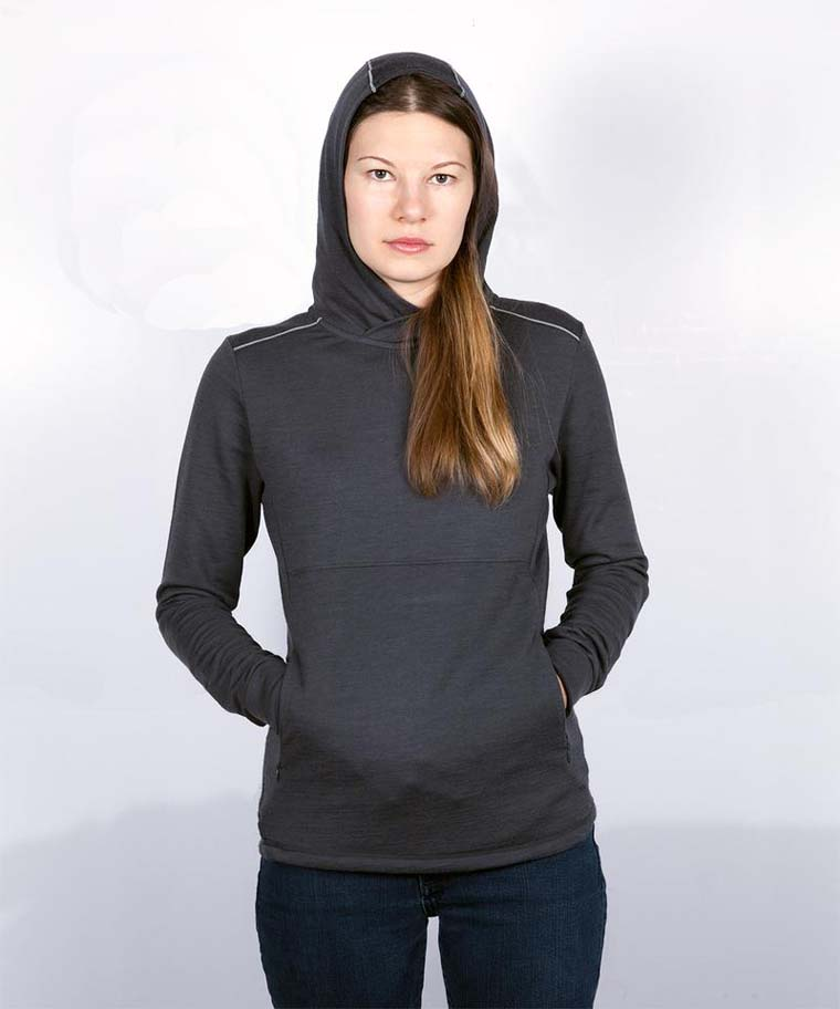 Woman in grey hoodie