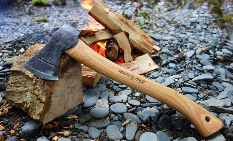 Hults Bruk Hatchet by the fire