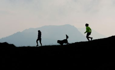 Trail running with a dog