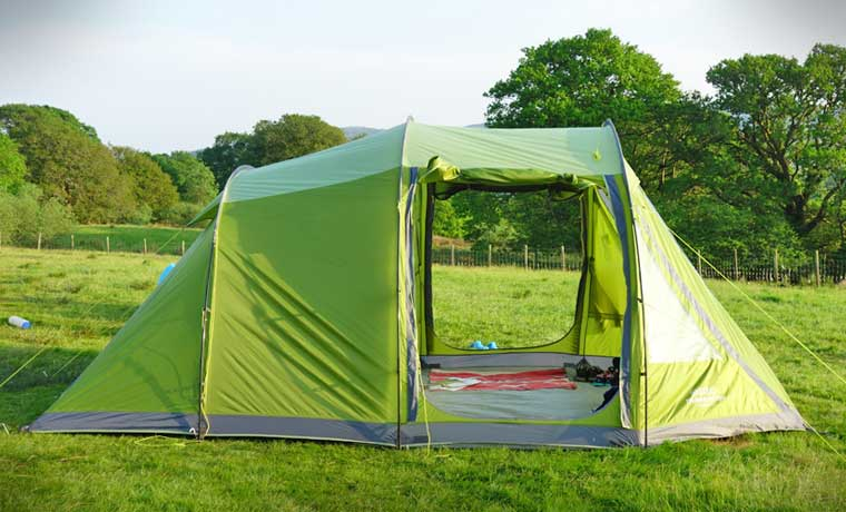 Side view of tent