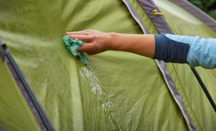 Cleaning a tent