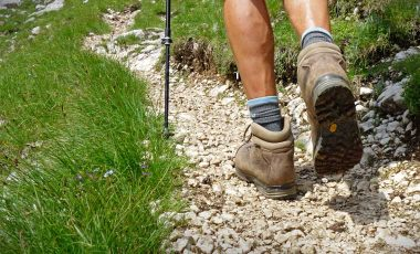 Man walking in hiking boots