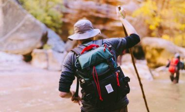 Man hiking in hat