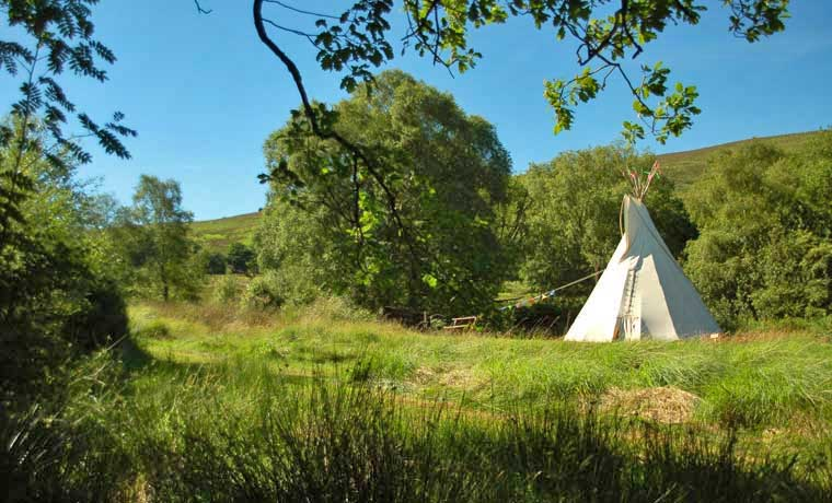 Teepee in a field