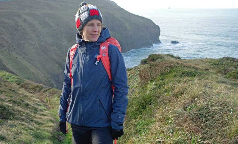 woman standing in the north face jacket
