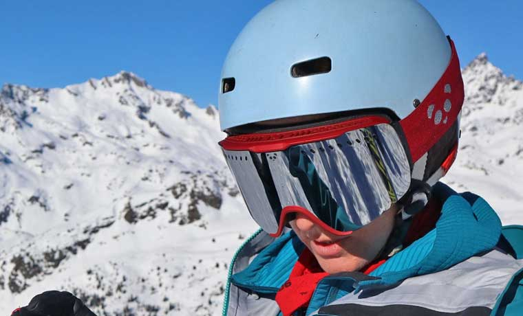 Woman wearing Panda Optics Ski Goggles