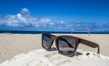 Eco-friendly sunglasses at the beach