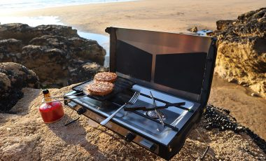 Camping stove on the beach